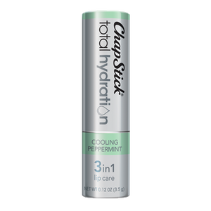 ChapStick® Total Hydration 3 in 1 Lip Care Cooling Peppermint lip balm in 0.12oz grey tube.