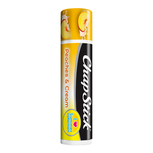 ChapStick® I Love Summer Collection Peaches & Cream lip balm in 0.12oz orange tube.