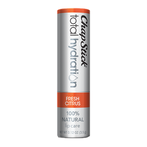 ChapStick® Total Hydration 100% Natural Fresh Citrus lip balm in 0.12oz grey tube.