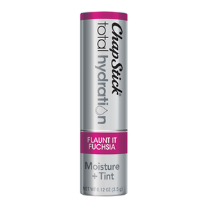 ChapStick® Total Hydration Moisture + Tint Flaunt It Fuchsia lip balm in 0.12oz grey tube.