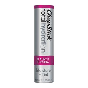 ChapStick® Total Hydration Moisture + Tint Flaunt It Fuchsia lip balm in 0.12oz grey tube.