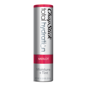 ChapStick® Total Hydration Moisture + Tint Merlot lip balm in 0.12oz grey tube.