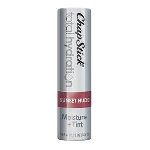 ChapStick® Total Hydration Moisture + Tint Sunset Nude lip balm in 0.12oz grey tube.