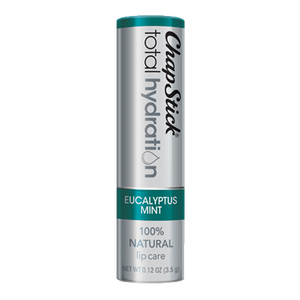 ChapStick® Total Hydration 100% Natural Eucalyptus Mint lip balm in 0.12oz grey tube.