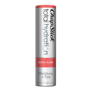 ChapStick® Total Hydration Moisture + Tint Coral Blush lip balm in 0.12oz grey tube.