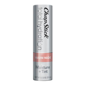 ChapStick® Total Hydration Moisture + Tint Warm Nude lip balm in 0.12oz grey tube.