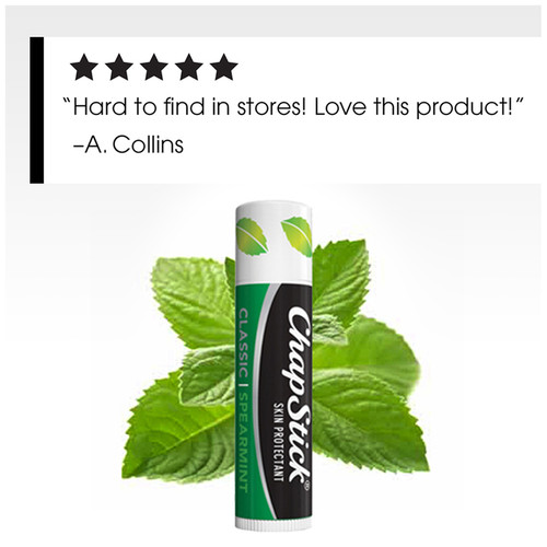 ChapStick® Classic Spearmint flavor lip balm ingredients formulated to keep your lips moist and smooth.
