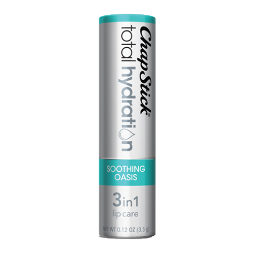 ChapStick® Total Hydration 3 in 1 Lip Care Soothing Oasis lip balm in 0.12oz grey tube.