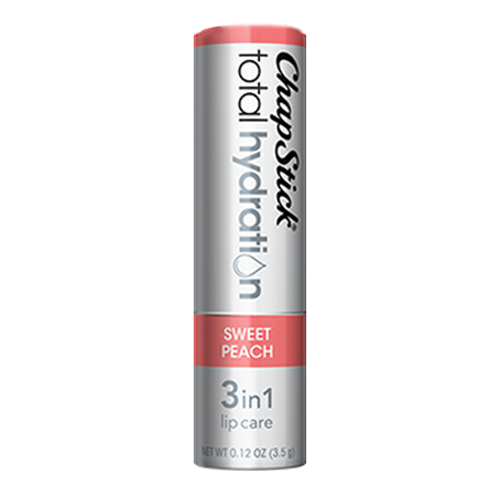 ChapStick® Total Hydration 3 in 1 Lip Care Sweet Peach lip balm in 0.12oz grey tube.