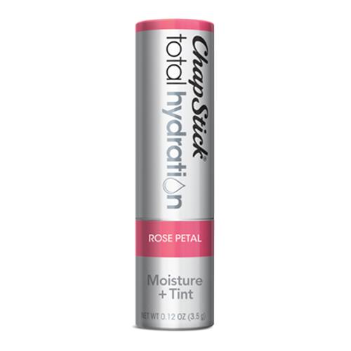 ChapStick® Total Hydration Moisture + Tint Rose Petal lip balm in 0.12oz grey tube.