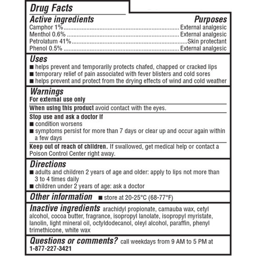 ChapStick® Medicated lip balm Drug Facts label.