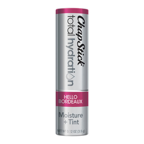 ChapStick® Total Hydration Moisture + Tint Hello Bordeaux lip balm in 0.12oz grey tube.