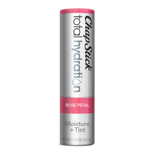 ChapStick® Total Hydration Moisture + Tint Rose Petal lip balm in 0.12oz grey tube.