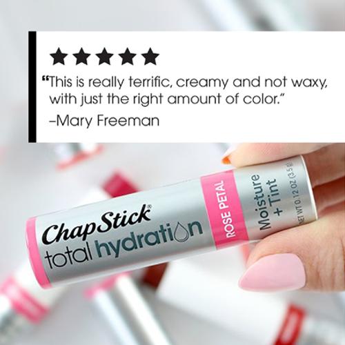 ChapStick® Total Hydration Moisture + Tint Rose Petal has an advanced moisturizing formula with raspberry seed + jojoba oils.