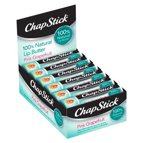 ChapStick® 100% Natural Lip Butter Pink Grapefruit Lip Balm (0.15 ounce, box of 12)