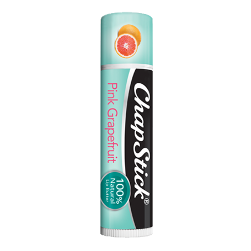 ChapStick® 100% Natural* Lip Butter Pink Grapefuit flavor lip balm in aqua and white 0.15-ounce tube.