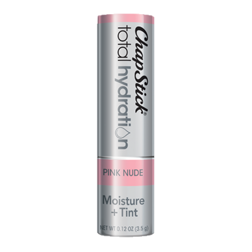 ChapStick® Total Hydration Moisture + Tint Pink Nude lip balm in 0.12oz grey tube.