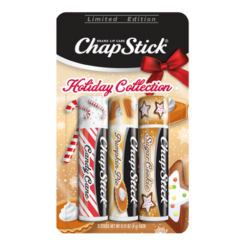 ChapStick® Trio with Candy Cane, Pumpkin Pie and Sugar Cookie in three 0.15-ounce brown tubes.