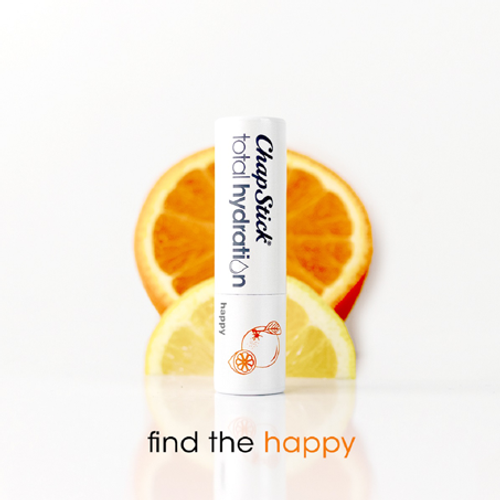 ChapStick® Total Hydration Essential Oils Happy lip balm with essence of orange and lemon.