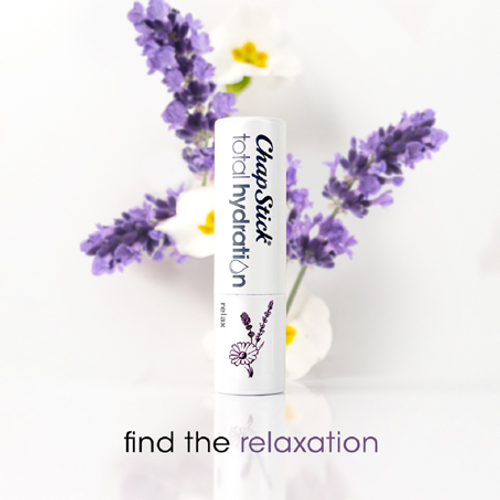ChapStick® Total Hydration Essential Oils Relax lip balm with essence of lavender + chamomile.