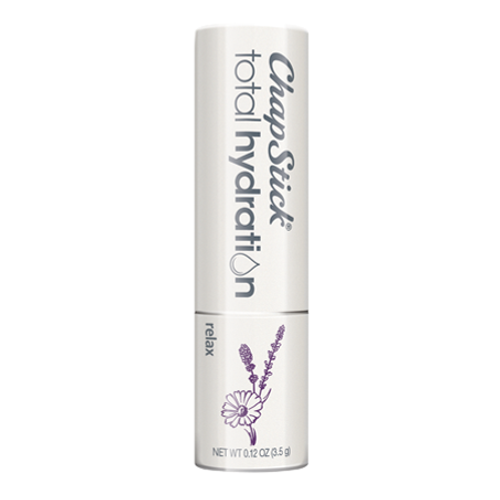 ChapStick® Total Hydration Essential Oils Relax lip balm in white 0.15-ounce tube.