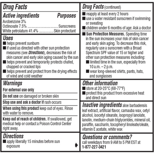 ChapStick® Moisturizer Cool Mint 2in1 lip balm Drug Facts label.