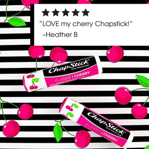 ChapStick®  Classic Cherry flavor lip balm is an old time favorite and tastes amazing!
