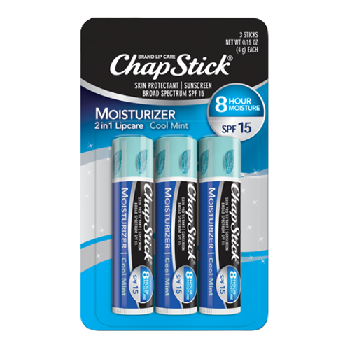 ChapStick® Moisturizer Cool Mint 2in1 lip balm in in three 0.15-ounce blue tubes.