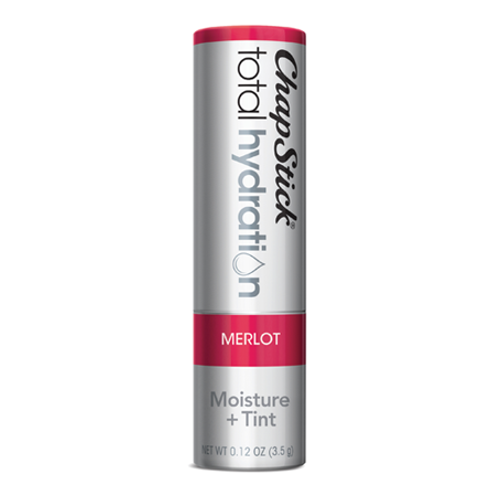 ChapStick® Total Hydration Moisture + Tint Merlot lip balm in 0.12oz grey tube.