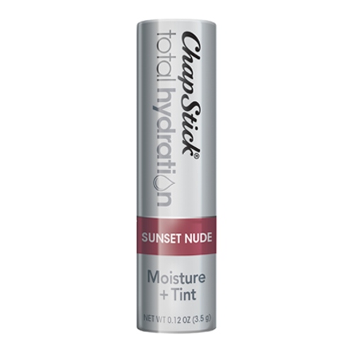 ChapStick® Total Hydration Moisture + Tint Sunset Nude lip balm in 0.12oz grey tube.