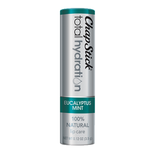 ChapStick® Total Hydration 100% Natural Eucalyptus Mint lip balm in 0.12oz grey tube.