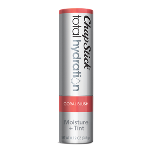 ChapStick® Total Hydration Moisture + Tint Coral Blush lip balm in 0.12oz grey tube.