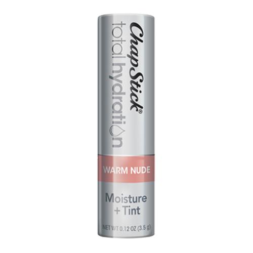 ChapStick® Total Hydration Moisture + Tint Warm Nude lip balm in 0.12oz grey tube.