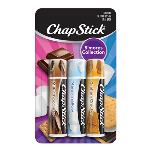 ChapStick® S'mores Collection three pack with Milk Chocolate, Marshmallow, Graham Cracker flavors.