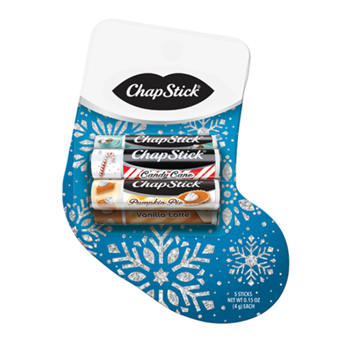 ChapStick® Stocking Pack with Candy Cane, Holiday Cocoa, Sugar Cookie, Pumpkin Pie and Vanilla Latte.