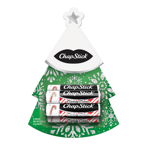 ChapStick® Candy Cane Tree christmas gift with 5 white, red and black striped tubes.