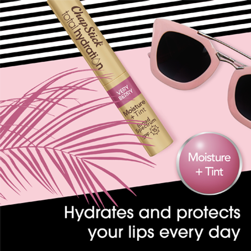 ChapStick Total Hydration Moisture Plus Tint with SPF 15 in Very Berry hydrates and protects your lips every day