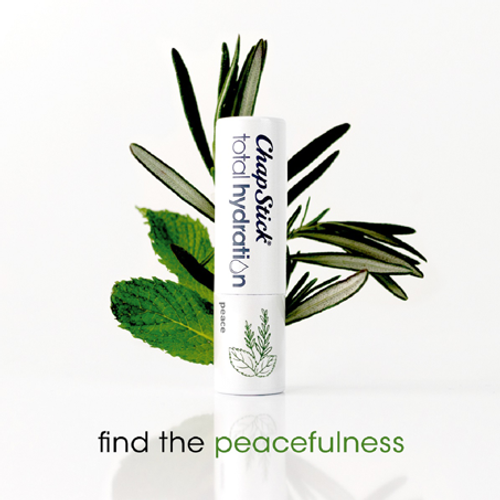 ChapStick® Total Hydration Essential Oils Peace lip balm in white 0.12-ounce tube.