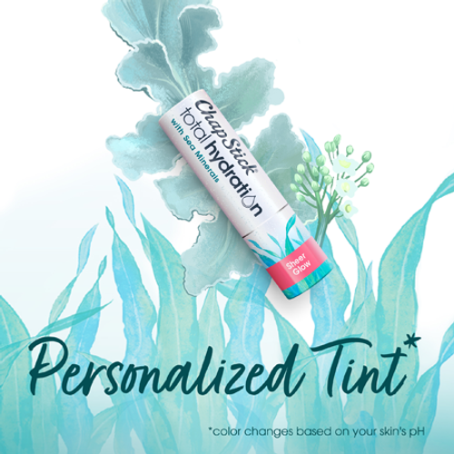 ChapStick® Total Hydration Sea Minerals Sheer Glow Tinted Lip Balm in white 0.12-ounce tube.