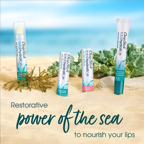 ChapStick® Sea Minerals range Made with Sea Mineral Complex,  Including Blue Sea Kale, Sea Algae, Aloe and Botanical Shea Butter.