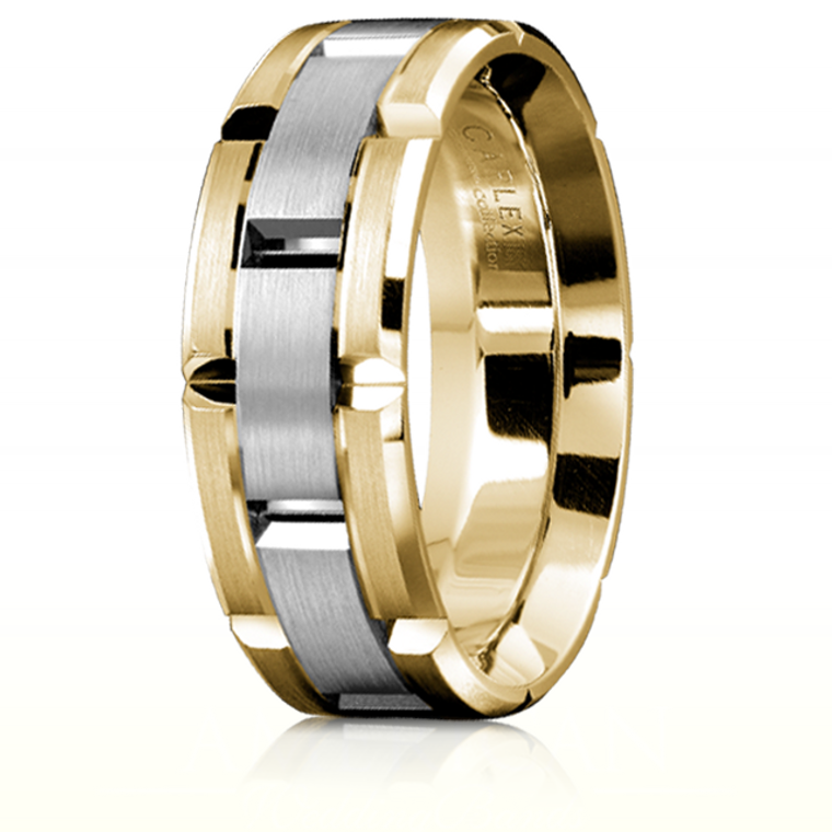 CARLEX WB-9316WY 18kt Gold 7.5mm Comfort Fit Wedding Band with White Gold Links