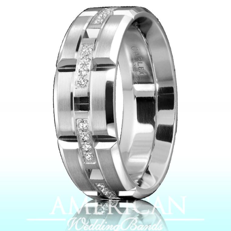 CARLEX WB-9320 18kt White Gold 7.5mm Comfort Fit Diamond Wedding Band (.16ct)
