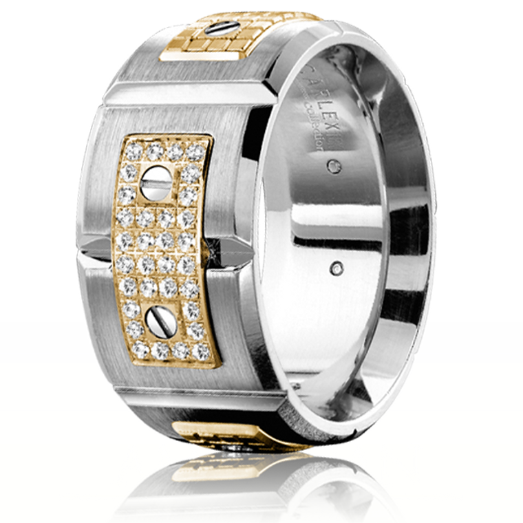 CARLEX WB-9897 18kt White Gold Two-Tone Yellow or Rose Gold 11mm Comfort Fit Diamond Wedding Band (.19ct)