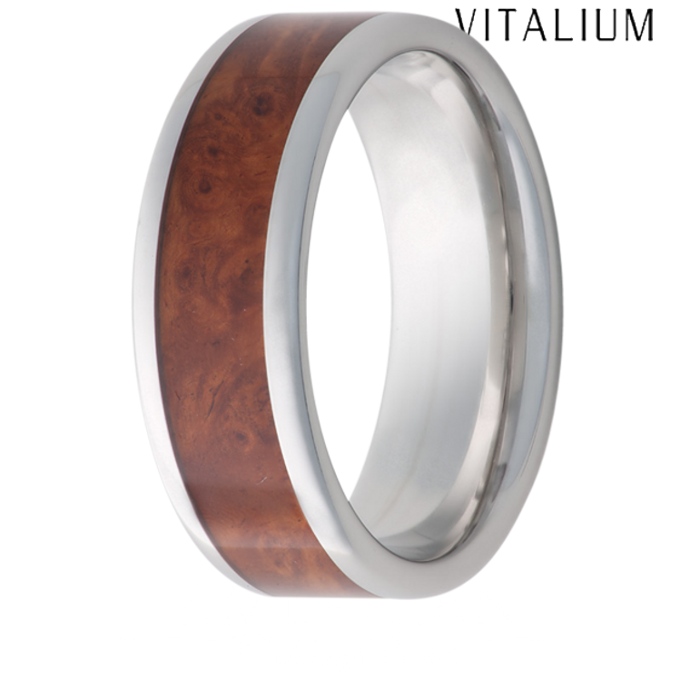 Jewelry Innovations Serinium® Flat Top 8mm Comfort Fit Wedding Ring with Exotic Ambonia Burl Wood in-lay - V8P BURL