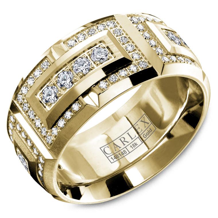CARLEX CX2-0008YY 10MM 18kt Yellow Gold Diamond Wedding Band (1.36ct)