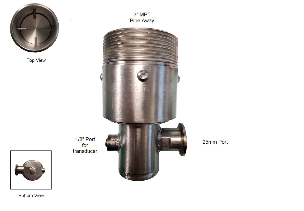 Vacuum safety assembly with pipe-away