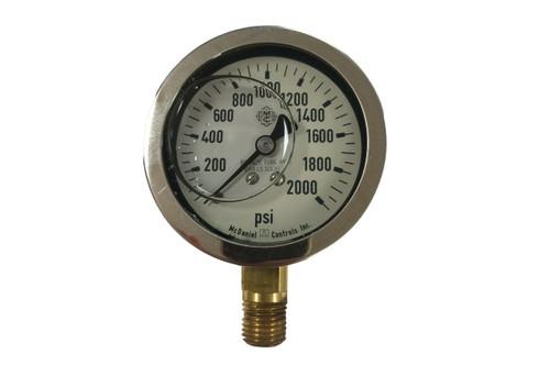 """Pressure Gauge, 2-1/2"""" dial, 2,000 PSI"""