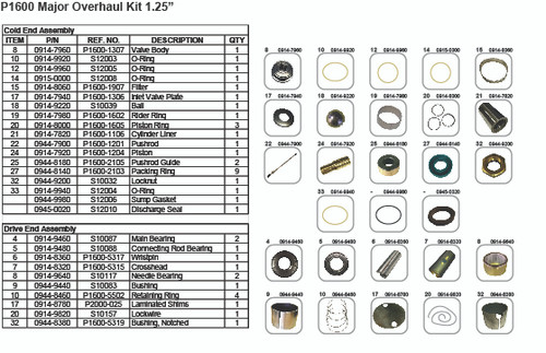 "Major Overhaul Kit P1600 1.25"""