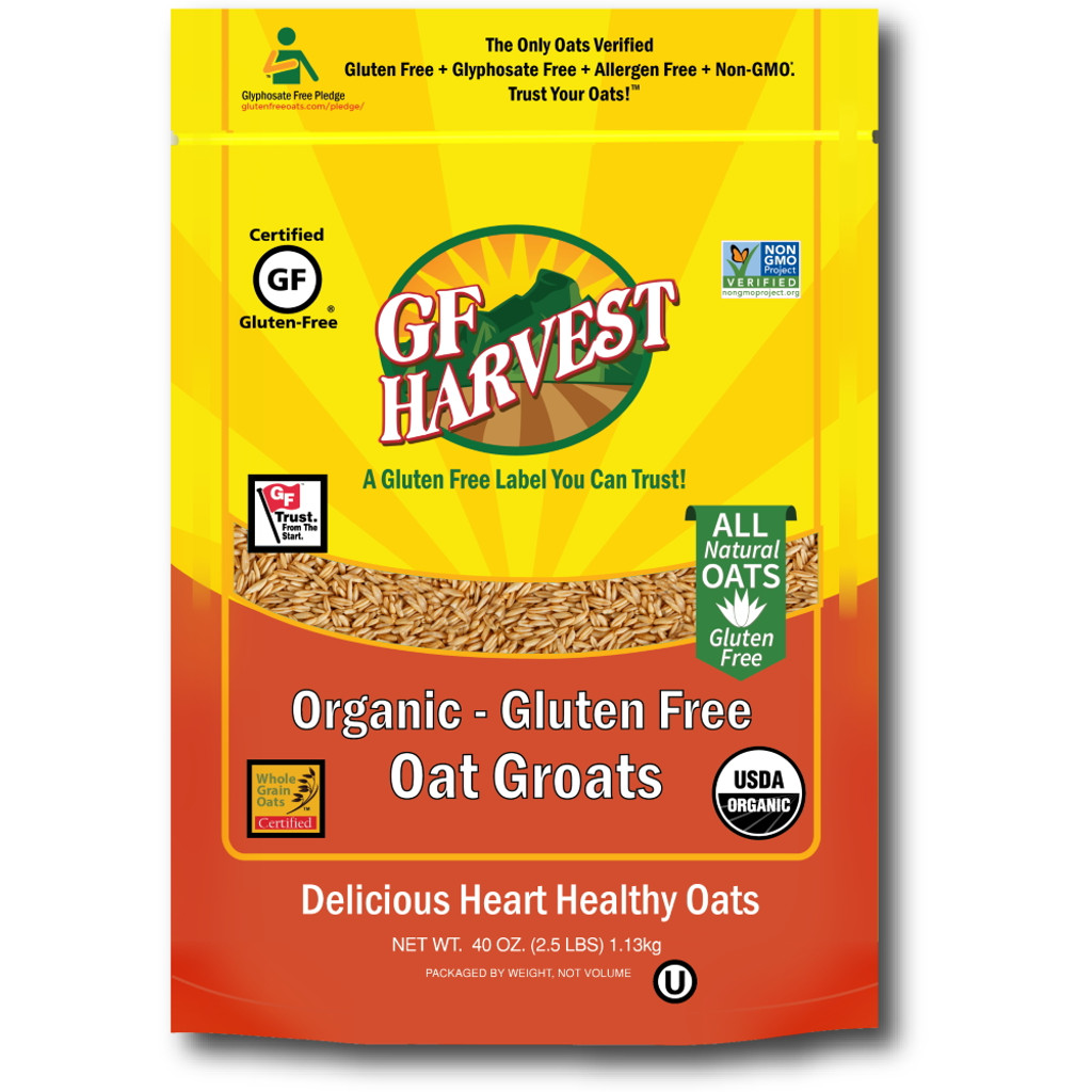 Organic Gluten Free Oat Groats. 100% whole grain, organic oat groats for a heartier healthy start to your day or for use in your favorite recipes.  Taste the difference of our uncontaminated, fresh roasted flavor that comes from our steamed, shelf stable process. Our groats are safe for those who are gluten intolerant or anyone desiring a high quality product. Use our groats for your own milling or cooking.