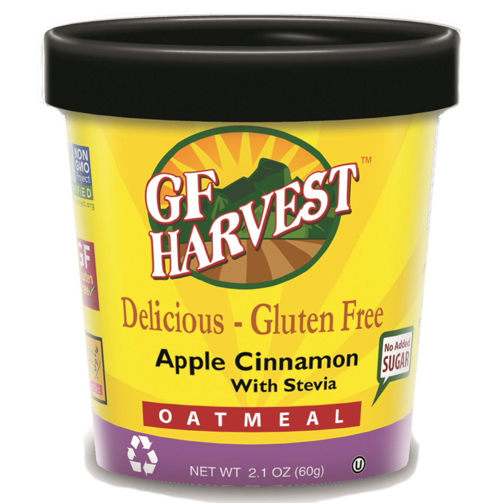 Gluten Free Harvest Oatmeal Cups contain no nuts, made with non-GMO certified ingredients, and - always - gluten free oats. They are packaged on a production line free of the top 8 allergens. A trusted product for breakfast or anytime. See package image for complete ingredient list and nutritional information.